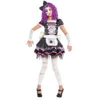 Girls Teens Halloween Fancy Dress Purple Damaged Doll Costume