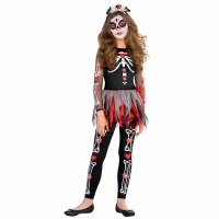 Girls Teens Halloween Fancy Dress scared to the Bone Day of the Dead Costume