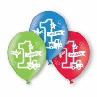 Boy All Aboard 1st Birthday Balloons 11'' Latex 6 Pack