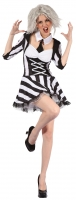 Ladies Halloween Zombie Beetlejuice Fancy Dress Costume