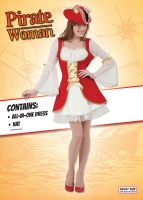 Ladies deluxe red Pirate Outfit 10-14 fancy dress costume