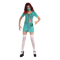Ladies Halloween Zombie Surgeon Fancy Dress Costume Outfit