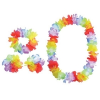 Hawaiian Hula Flower Rainbow Garland Lei Set Fancy Dress Accessory