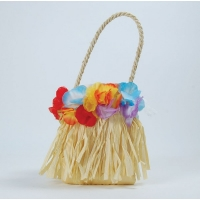 Hawaiian / Hula Hula Flower Straw Bag Fancy Dress Accessory