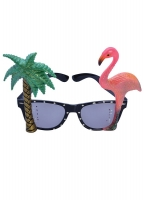 Flamingo/ palm tree, tropical style hawaiian glasses