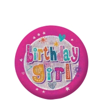 Happy Birthday Holographic Girl's Pink Badge - 5.5cm