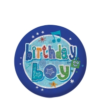 Happy Birthday Holographic Boy's Blue Badge - 5.5cm