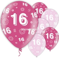 Sweet 16th Birthday Pink Balloons 11'' Latex 5 Pack
