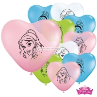 Birthday Party Disney Princess Faces Heart Shape Balloons 6'' Latex 10 Pack