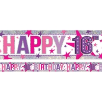 Holographic Happy 16th Birthday Pink Foil Banner 2.7m