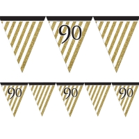 90th Birthday Black And Gold Flag Bunting Party Decoration 3.7m