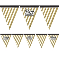 Black And Gold Glitter Happy Birthday Flag Banner Party Decoration 3.7m