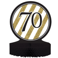 Black and Gold Glitter 70th Birthday Table Centerpiece Party Decoration 30cm