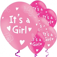 Baby Shower Pink It's A Girl 6 Pack Balloons