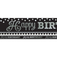Happy Birthday Party Black & White Foil Banner