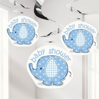 Boy's Baby Shower Umbrellaphants Blue Party Hanging Swirl Decorations