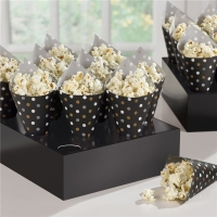 Party/ Special Occasions Fun Black Snack Cones with Tray