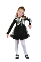 Girls Toddler Skeleton Suit Fancy Dress Costume