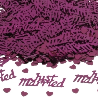 Burgundy 'Just Married' Wedding Table/Invite Confetti 14g