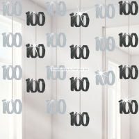 100th Birthday Black Hanging Decorations Party Decoration 5ft