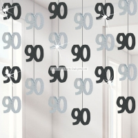 90th Birthday Black Hanging Decorations Party Decoration 5ft