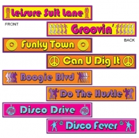 Disco Street Sign Cutouts Mega Pack of 4 Party Decoration's -60cm