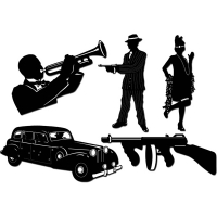 1920s Gangster Silhouettes 5 pack  - 50cm Party Decoration