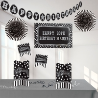 Black and White Personable Decorating Birthday/ Party Kit