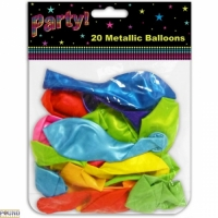 Party balloons metallic pack of 20 mixed colours