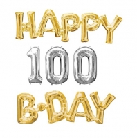 Happy 100th Birthday Party Gold And Silver Celebration Balloon's