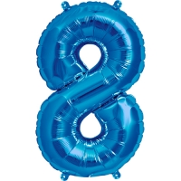 Blue Number 8 Foil Birthday Balloon 16''