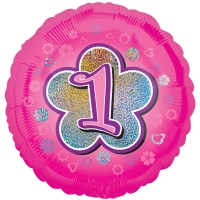 Girls Pink Flower 1st Birthday Helium Quality Foil Balloon 18''
