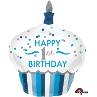 Boys Blue Cupcake Super-shape 1st Birthday Helium Quality Foil Balloon 29''