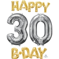 Happy 30th Birthday Party Gold And Silver Celebration Balloon 26""