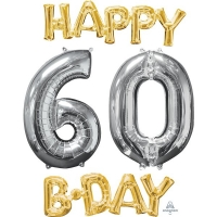Happy 60th Birthday Party Gold And Silver Celebration Balloon 26""