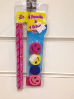 4 pack of fancy pencils and erasers assorted party bag filler
