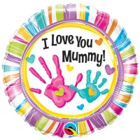 "Mother's Day ""I Love You Mummy"" Handprints Balloon 18"" Foil"