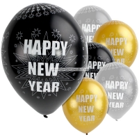 "Happy New Year Balloons Sparkling Colours 11"" Latex Party Decorations"