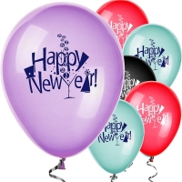 "Happy New Year Balloons Assorted Colours 12"" Latex Party/ Celebration Decoration"