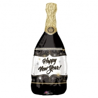 "Happy New Year Champagne Bottle Balloon - 36"" Foil Party/ Celebration Decoration"