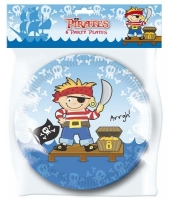 Pirate Mettalic 6 party plates 6*9""