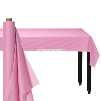 Party Baby Pink Damask Banqueting Table Roll Cover Plastic 30m