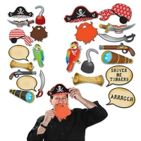 Fun party activity pirate style photo booth kit props