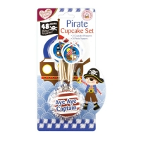 Pirate party 24 cup cake cases and 24 cake toppers
