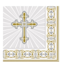 Religious Occasions Communion Blessings Silver And Gold Radiant Cross Napkins