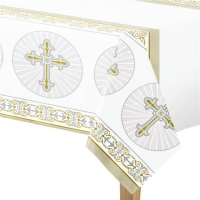 Religious Occasions Silver And Gold Radiant Cross Plastic Tablecover