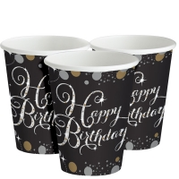 Happy Birthday Gold Sparkling Celebration 8 Pack Of Paper Party Cups 266ml