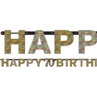 Sparkling Celebration Age Happy Birthday 70th Prismatic Letter Banner 2m