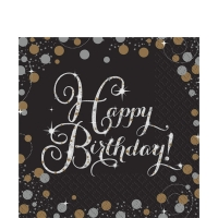 Sparkling Celebration Happy Birthday Pack of 16- 2 Ply Napkins