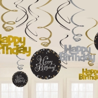 Happy Birthday Gold Sparkling Celebration  Hanging Swirls Party Decoration
